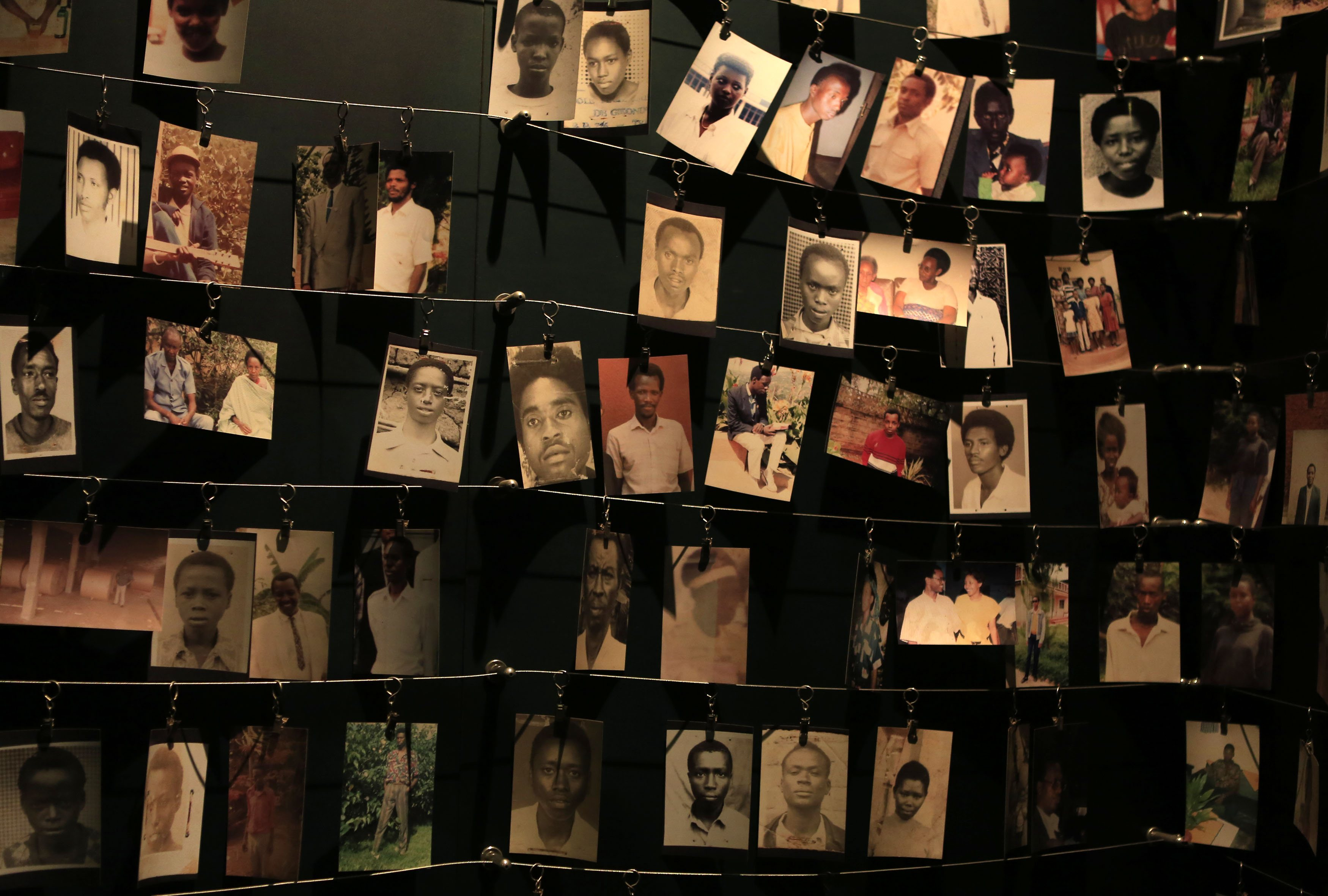 Photographs of people who were killed during the 1994 genocide are seen inside the Kigali Genocide Memorial Museum