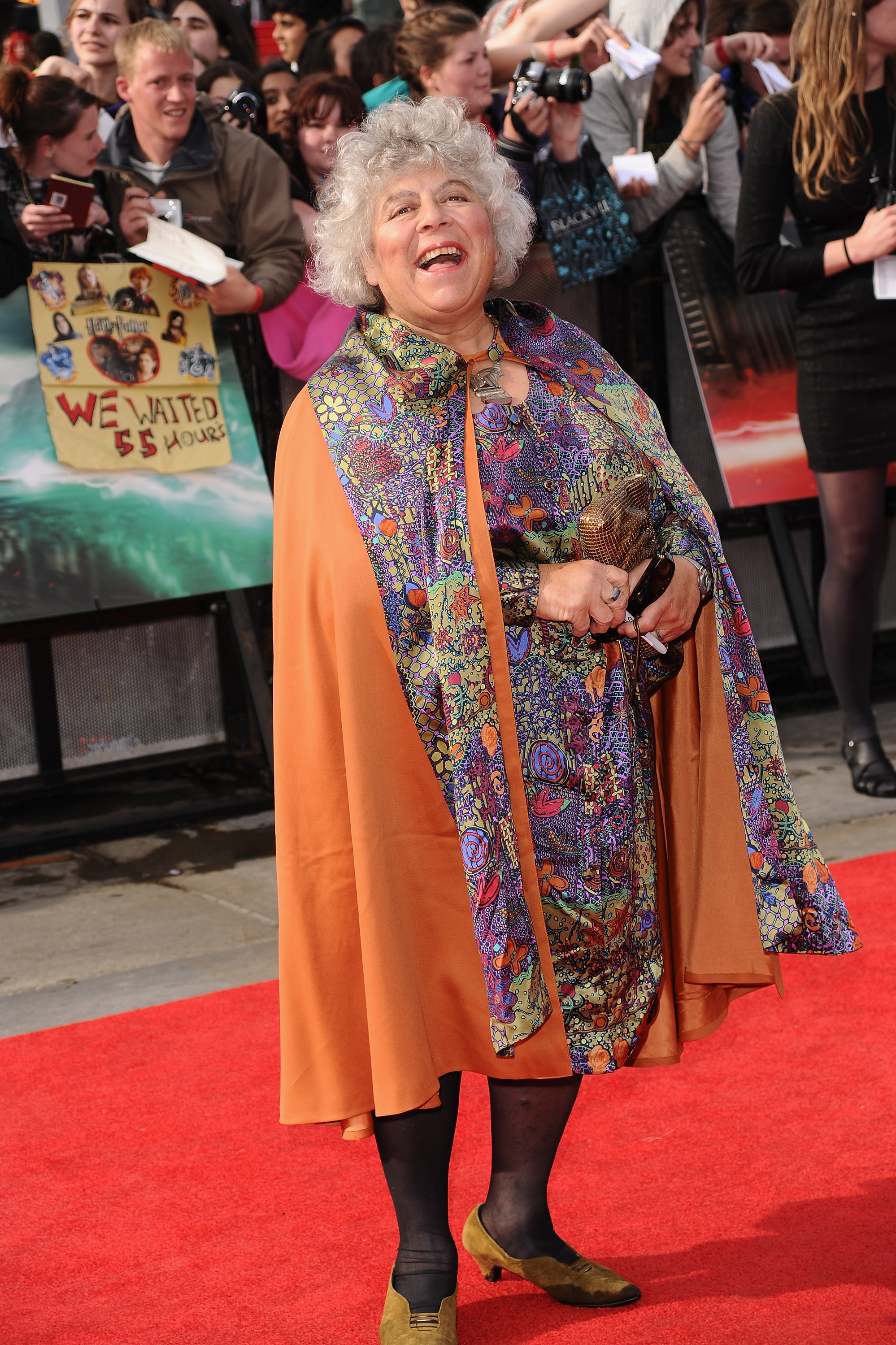 LONDON, ENGLAND - JULY 07:  Actress  Miriam Margolyes attends the World Premiere of Harry Potter and The Deathly Hallows - Part 2 at Trafalgar Square on July 7, 2011 in London, England.  (Photo by Ian Gavan/Getty Images)